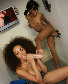 See Ebony Serena Ali & Amber Steel Suck Her First White Cock
